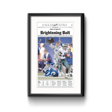 Inquirer Sports Commemorative Page -  Brightening Bolt Framed Print with Mat