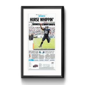 "Inquirer Sports Commemorative Page - Sports ""Horse Whippin'"" Framed Print with Mat"