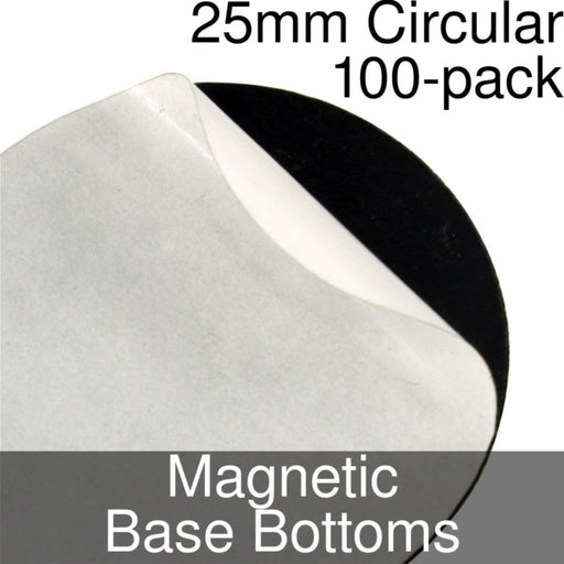 Miniature Base Bottoms, Circular, 25mm, Magnet (100) - LITKO Game Accessories