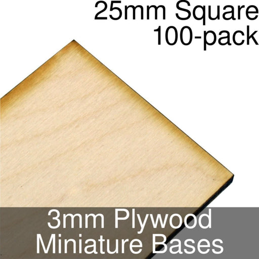 Miniature Bases, Square, 25mm, 3mm Plywood (100) - LITKO Game Accessories