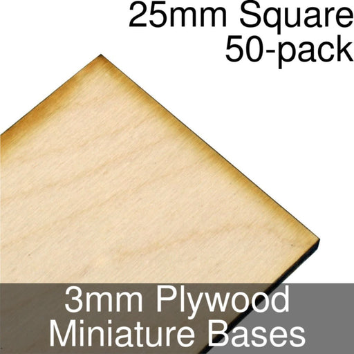 Miniature Bases, Square, 25mm, 3mm Plywood (50) - LITKO Game Accessories