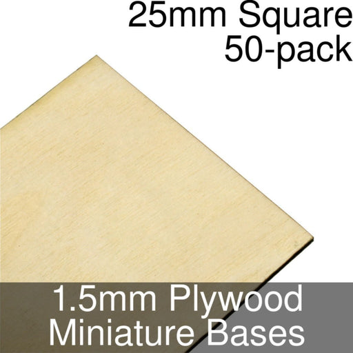 Miniature Bases, Square, 25mm, 1.5mm Plywood (50) - LITKO Game Accessories