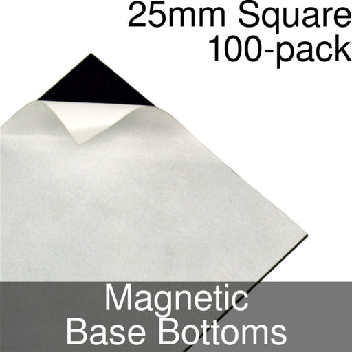 Miniature Base Bottoms, Square, 25mm, Magnet (100) - LITKO Game Accessories