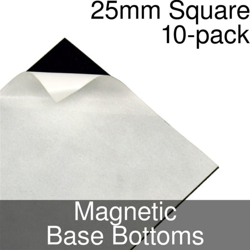 Miniature Base Bottoms, Square, 25mm, Magnet (10) - LITKO Game Accessories
