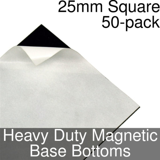 Miniature Base Bottoms, Square, 25mm, Heavy Duty Magnet (50) - LITKO Game Accessories