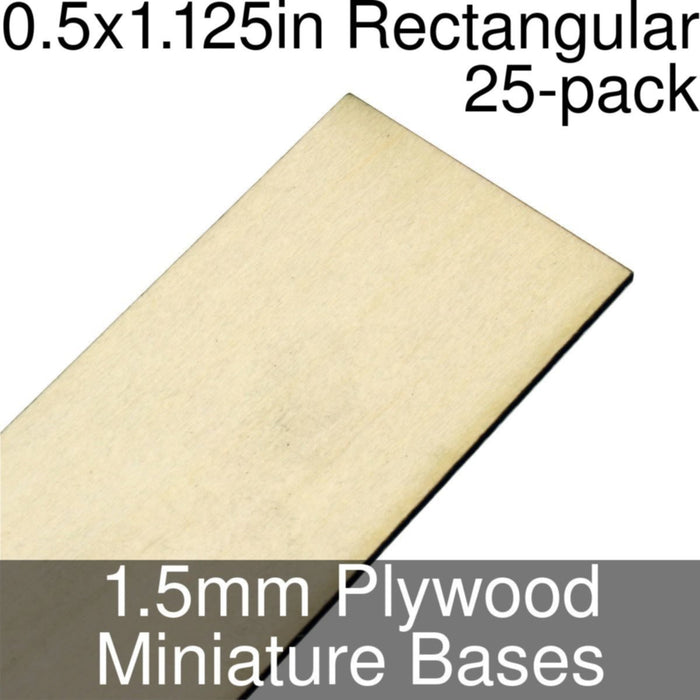 Miniature Bases, Rectangular, 0.5x1.125inch, 1.5mm Plywood (25) - LITKO Game Accessories