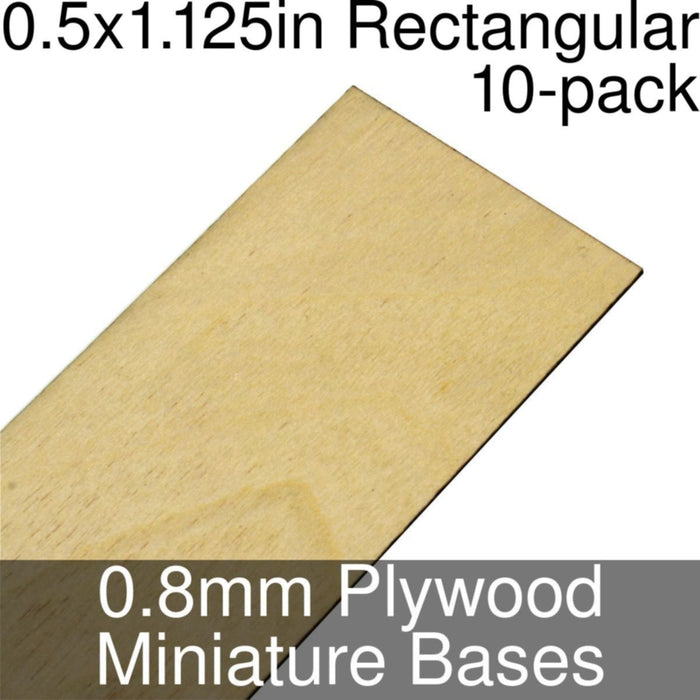 Miniature Bases, Rectangular, 0.5x1.125inch, 0.8mm Plywood (10) - LITKO Game Accessories
