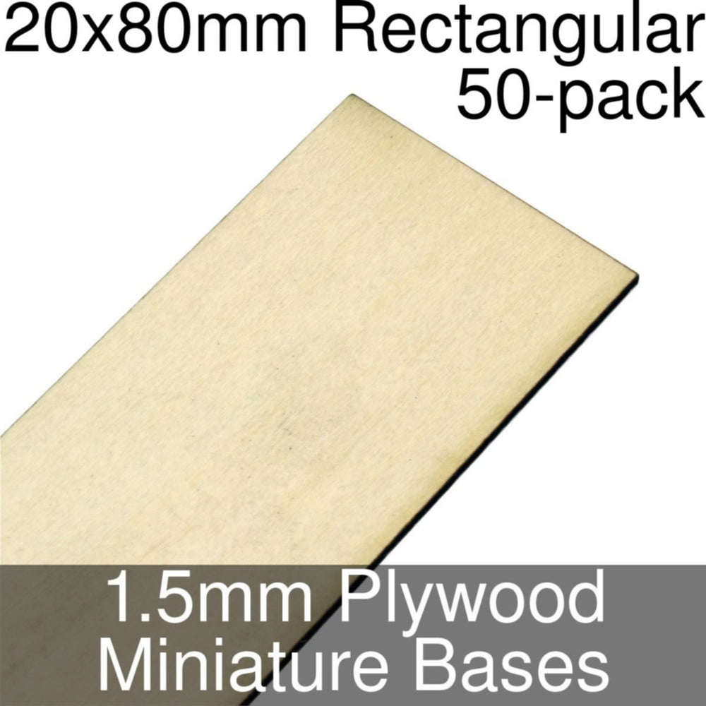 Miniature Bases, Rectangular, 20x80mm, 1.5mm Plywood (50) - LITKO Game Accessories