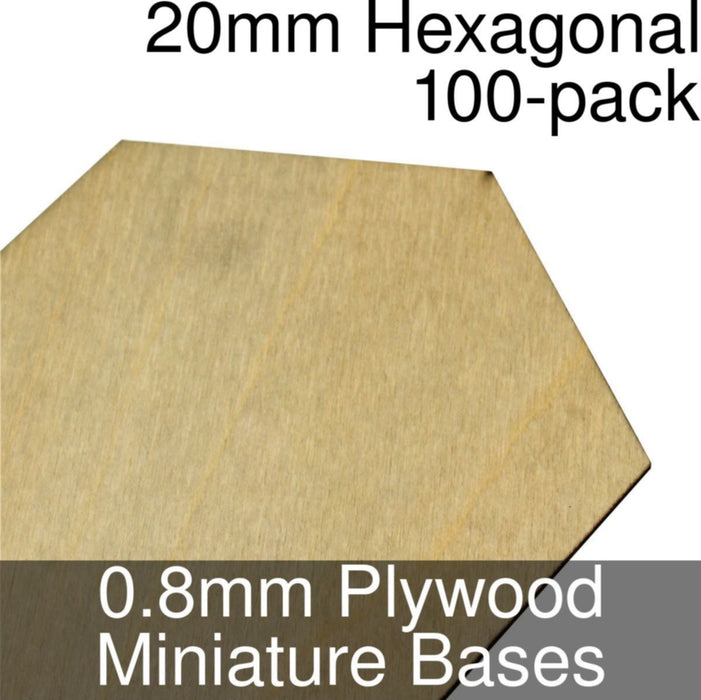 Miniature Bases, Hexagonal, 20mm, 0.8mm Plywood (100) - LITKO Game Accessories