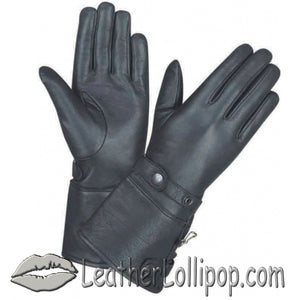 Ladies Full Finger Leather Gauntlet Motorcycle Riding Gloves - SKU LL-1491.00-UN