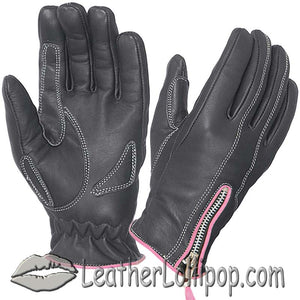 Ladies Full Finger Leather Motorcycle Riding Gloves With Hot Pink Piping - SKU LL-8261.24-UN