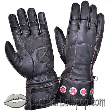 Ladies Full Finger Leather Motorcycle Riding Gloves With Hot Pink Stitching - SKU LL-8332.24-UN
