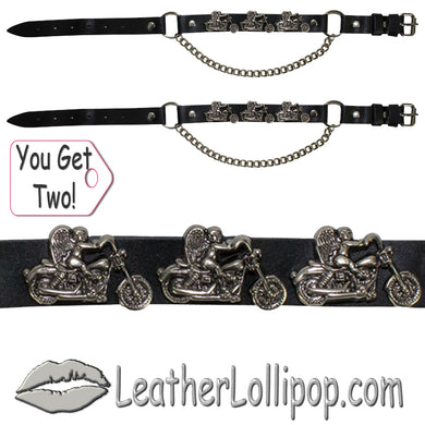 Pair of Biker Boot Chains - Motorcycle Angel - SKU LL-BC1-DL