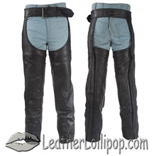 Heavy Duty Motorcycle Leather Chaps With Zipper Pocket for Men or Women - SKU LL-C3000-DL