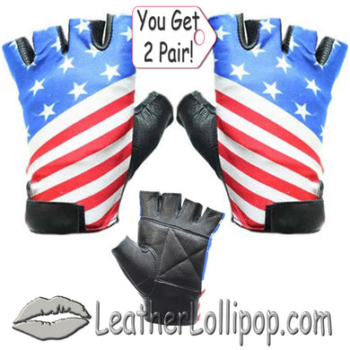 His and Hers American - USA Flag Fingerless Biker Leather Motorcycle Gloves - SKU LL-GL2034-X2-DL