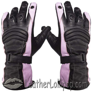 Ladies Leather Gauntlet Gloves in Pink and Black With Padded Knuckles - SKU LL-GLZ60-PINK-DL