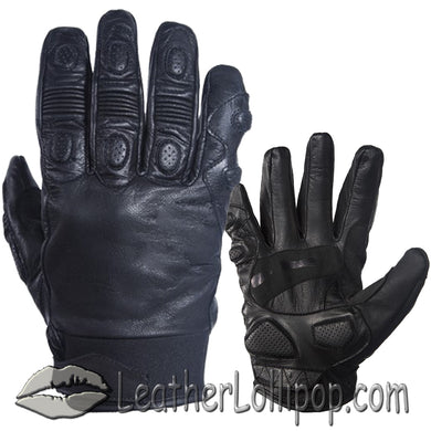 Full Finger Soft Leather Padded Motorcycle Riding Gloves - SKU LL-GLZ80-DL