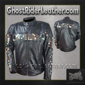 Mens Scooter Leather Jacket with Camouflage / SKU GRL-HMM540-VL