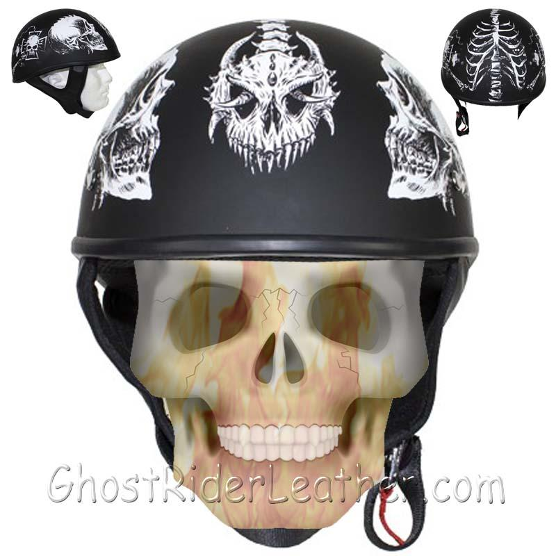 DOT White Horned Skeletons Motorcycle Helmet - Flat Finish - SKU GRL-HS1100-D5-WHITE-FLAT-DL
