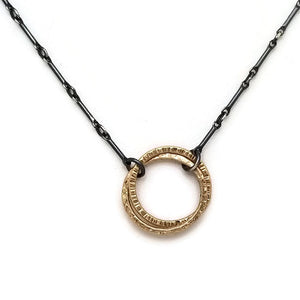 Halo Necklace with 14k Gold - double ring