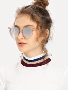 Mirror Lens Large Round Sunglasses - TAGVIN