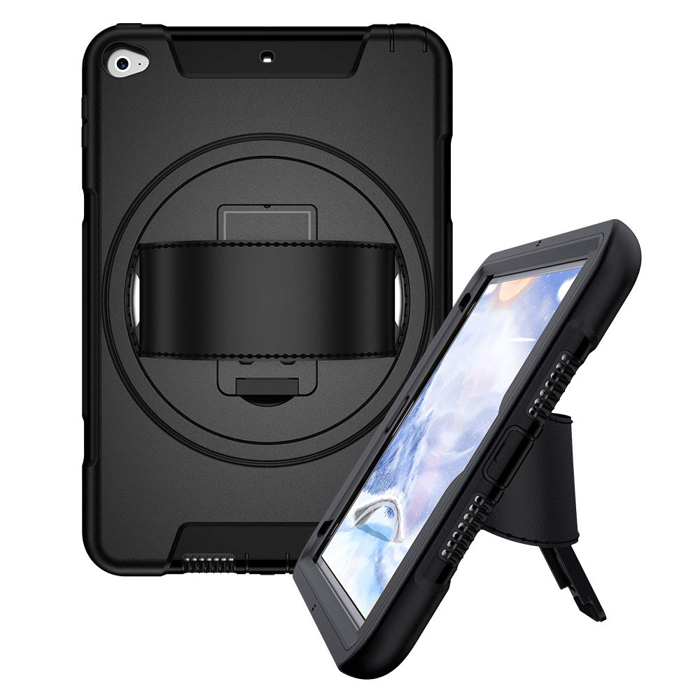iPad Mini 5 2019 iPad Mini 4 Rugged Case with Built-in Kickstand & Screen Protector - Black - Gearlyst