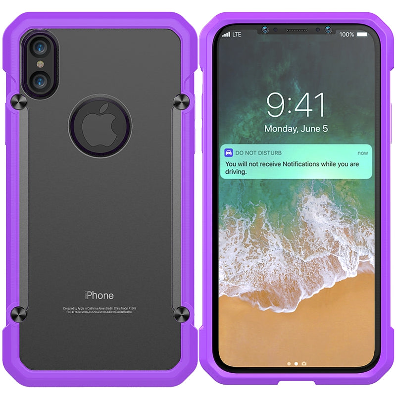GearLyst ShockProof Rugged Tough Case For iPhone XS/X - Purple - Gearlyst