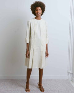 Longsleeve Pleat Dress with Stitches