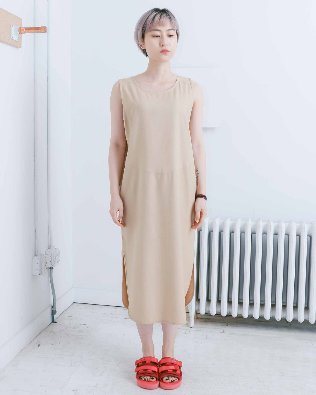 Tan Rounded Hem Tank Dress