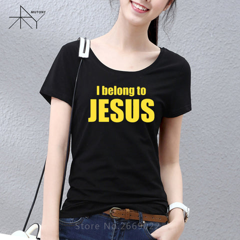 New Women T Shirts I Belong to Jesus Tshirts Cotton Short Sleeve Christ Religion Catholic Christian Faith T-shirts