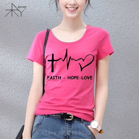 New Summer Style Faith Hope Love Christian T-shirt Funny christianity god Girls Gift T Shirt Woman Casual Short Sleeve Top Tees