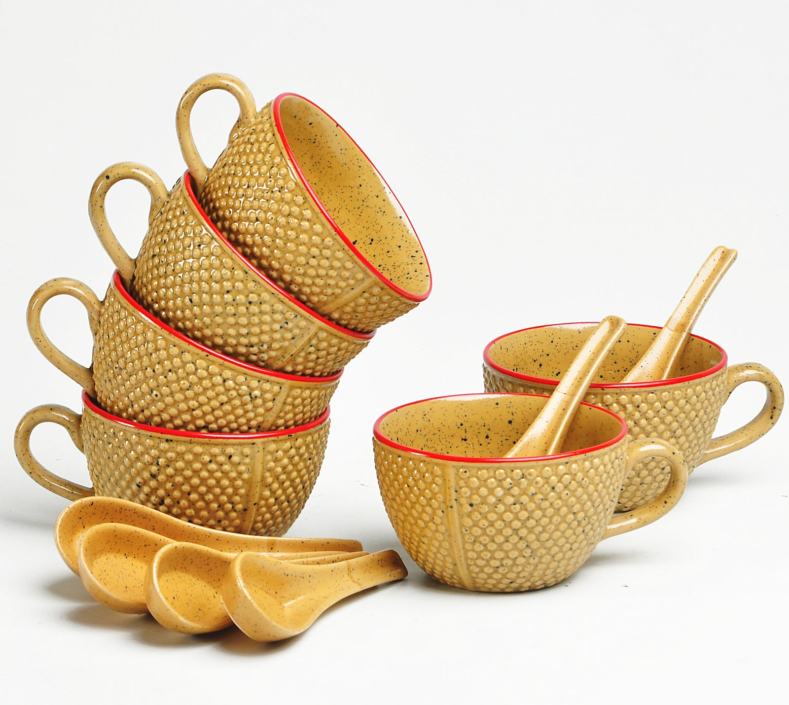 Golden and Orange Punkt Soup Bowls - Set of 6