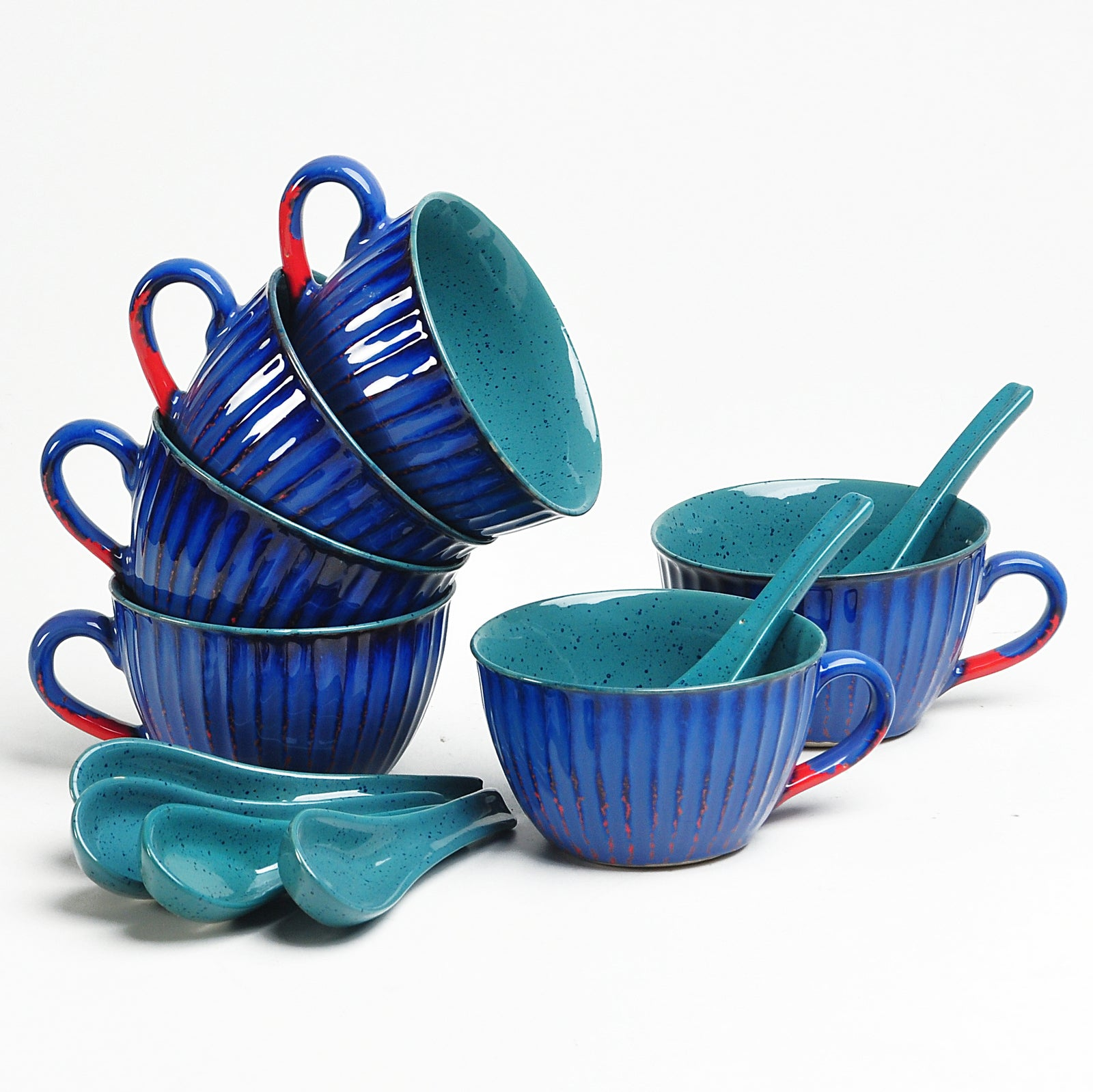 Blue and Green Viiva Soup Bowls - Set of 6