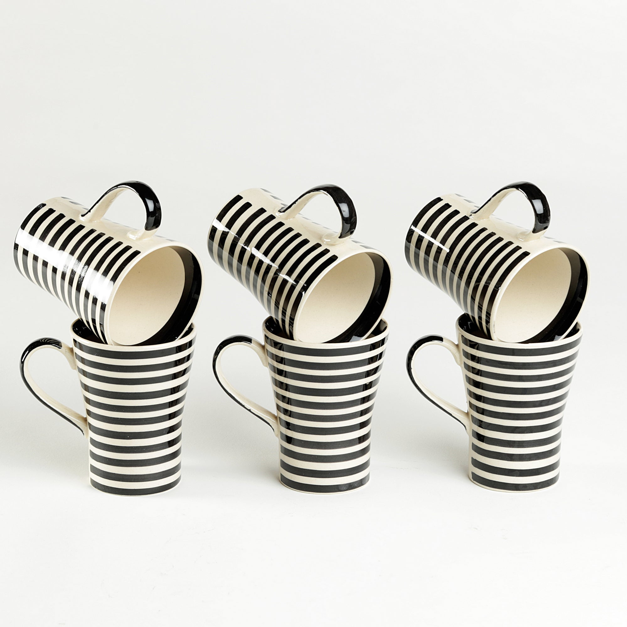 White and Black Cone Coffee/Milk Mug - Set of 6 pcs