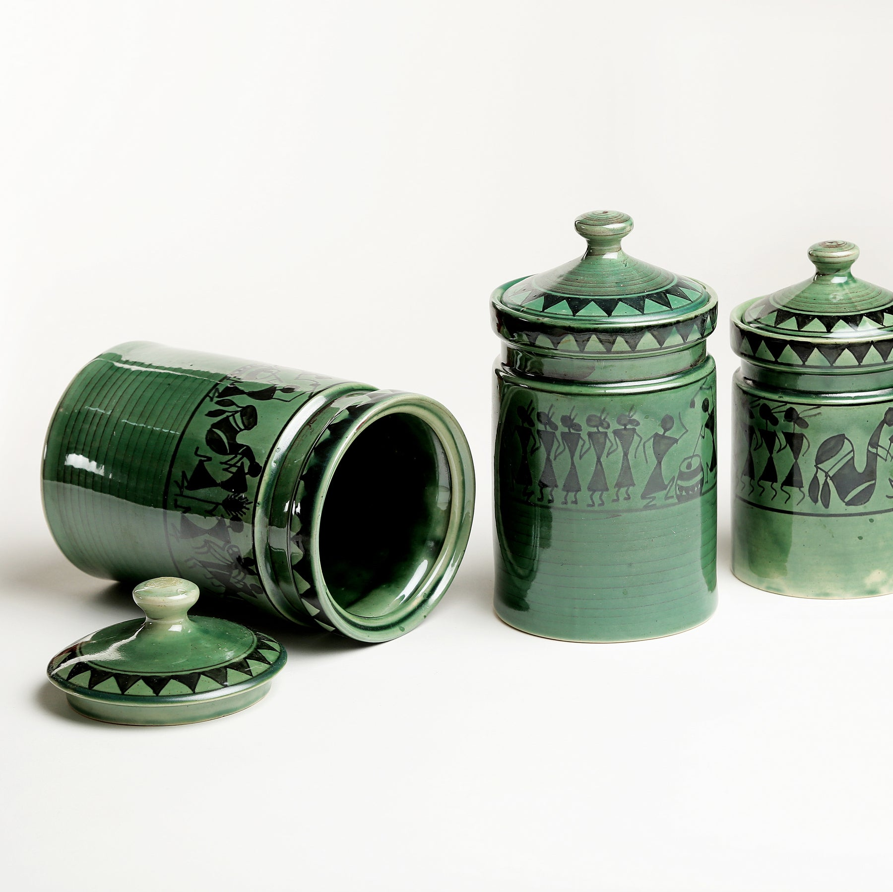 Green  Warli Handpainted Ceramic Cookie Jars/Barni/Containers - Set of 3