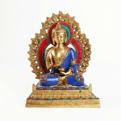 Turquoise Sitting Buddha on Throne