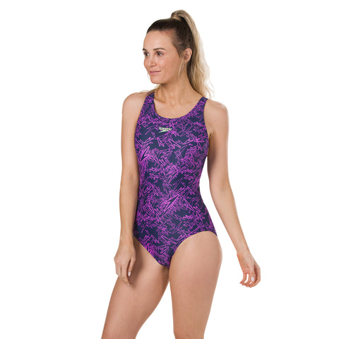 Speedo - Womens Swimsuit  Boom All Over Muscleback Navy/Purple
