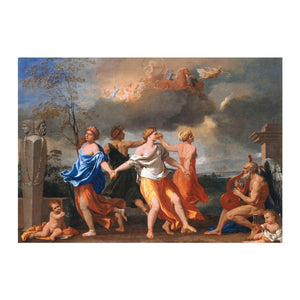 a Dance to the Music of Time by Nicolas Poussin greetings card front image