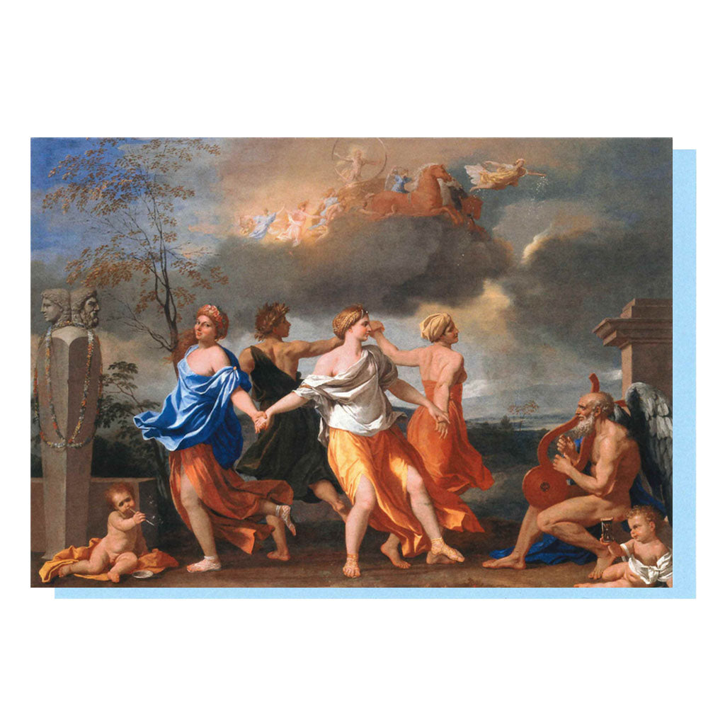 a Dance to the Music of Time by Nicolas Poussin greetings card showing the front and reverse image.