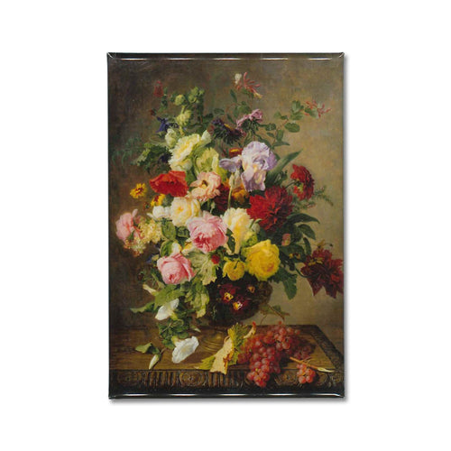 A fridge magnet of 'Flowers and Fruit', a still life painting depicting an overflowing vase of flowers by Simon Saint-Jean