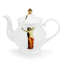 The Temptation Collection, Large Teapot, by Melody Rose for the Wallace Collection. Fine Bone China and hand-gilded. Side View.