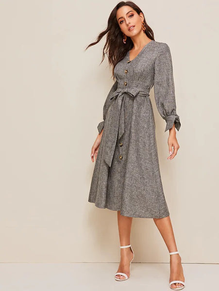 Nerida Knot Cuff Midi Dress - Huzsy