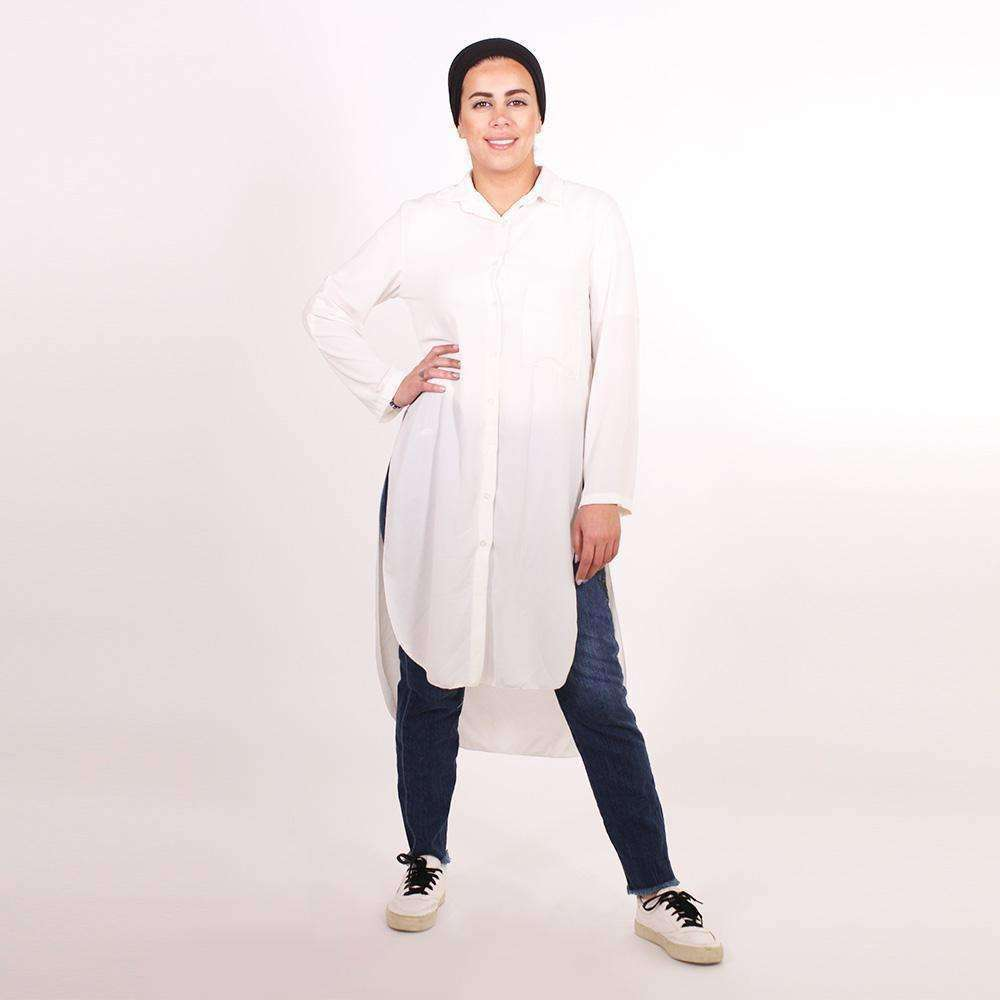 White Button Through Collar Shirt Dress Shirt Naziha Khreiss