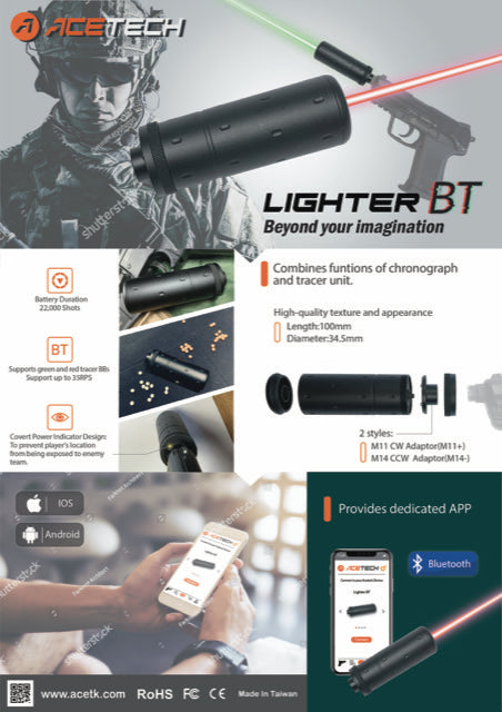 PREORDER ACETECH LIGHTER BT TRACER UNITS FOR RED AND GREEN TRACER BBS - BLACK