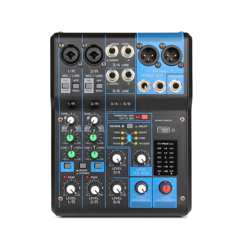 Professional 06X Audio consule 6 Channel Input and USB Interface Analog Mixer With Compression and Effects LN for Stage DJ
