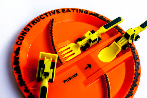 Construction Utensils Set or Construction Plate by Constructive Eating