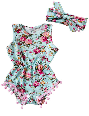 Floral Romper with Headband