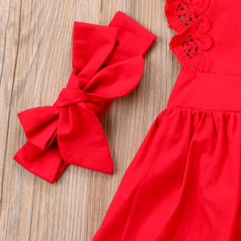 Image of Red Lace Romper Dress