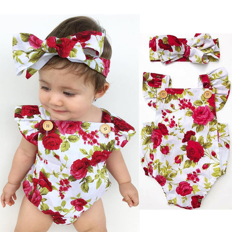 Image of Floral Romper 2pc Set
