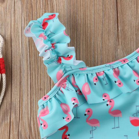 Image of Ruffle Flamingo Print Swimwear